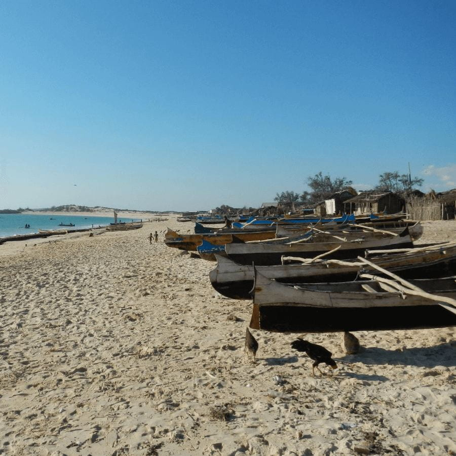A collection of boats on a Madagascar beach